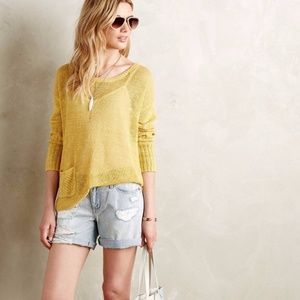 ANTHROPOLOGIE SPARROW YELLOW RIBBED LINEN SWEATER